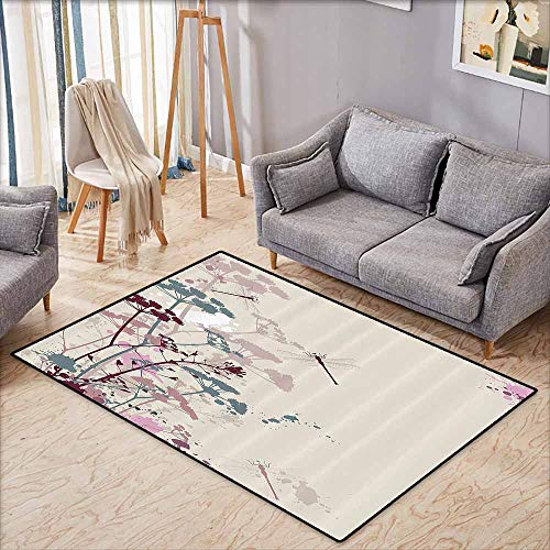 Petal Dragonfly - Inner Door Rug Country Decor Collection Plants and Petals with Dragonfly Soft Color Design with Grunge Effects Vintage Style Picture Multi Non-Slip Door mat pad Machine can be Washed W5'9 xL4'9