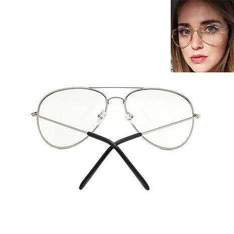 Gafas de sol estilo aviador vintage, con cristales transparentes, estilo geek plateado Plateado