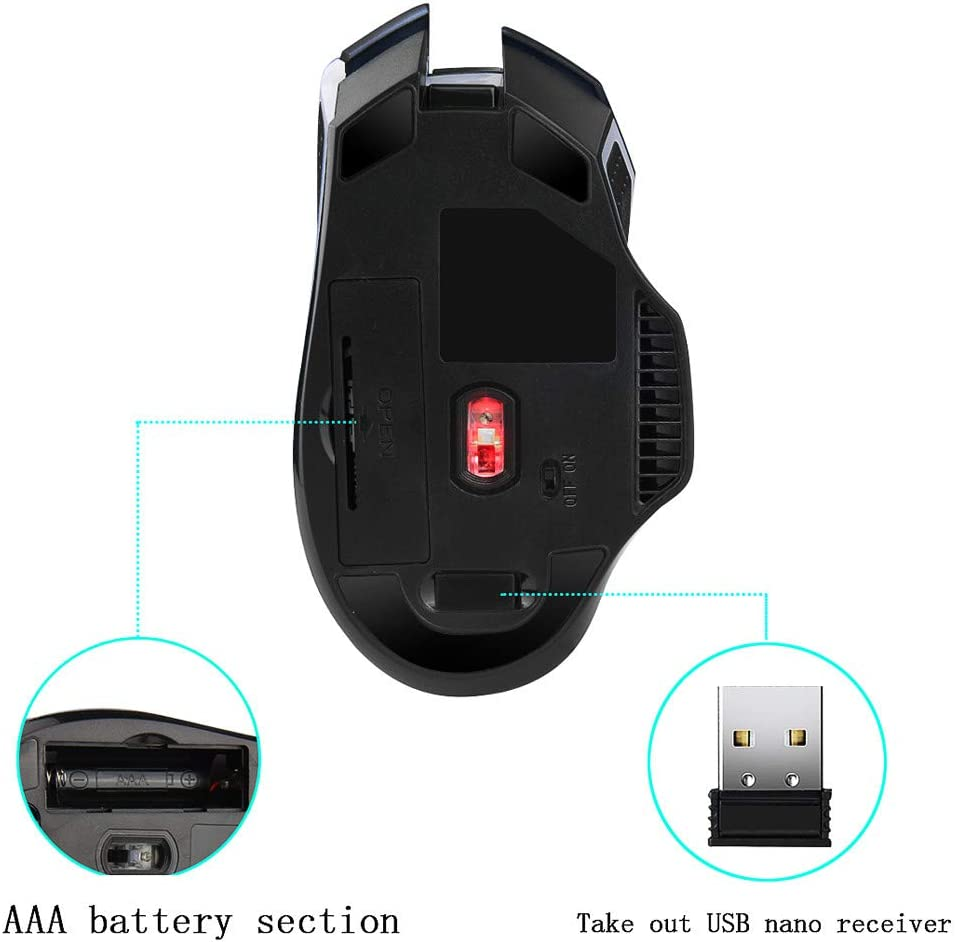 Becoler Store Gaming Mouse G821 Wireless Mouses Adjustable Optical Mouse Mice for PC Gaming Windows Laptops