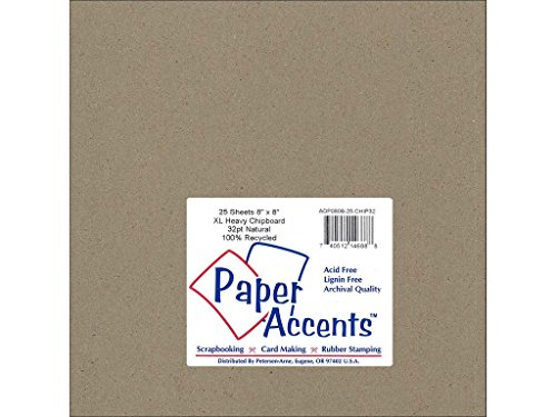 Accent Design Paper Accents Extra NAT Chipboard 8x8 XL Heavy 32pt Natural ()