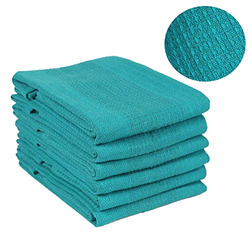 - Ramanta Home Kitchen Towel- Honeycomb Waffle (6 Pack 18x28 Teal) Quick Dry, Tea Towels, Bar Towels, Highly Absorbent, Cleaning Towels, Kitchen Tea Towels, 100% Pure Cotton, Absorbent Waffle Weave