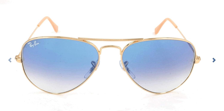 Ray-Ban Clásico Aviador Gafas De Sol En Arista Oro Cristal Azul degradado Rb3025 001/3 F 62