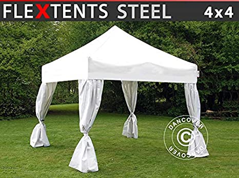 Carpa Plegable Carpa Rapida FleXtents Steel 4x4m Blanco, Incl. 4 Cortinas Decorativas: Amazon.es: Jardín