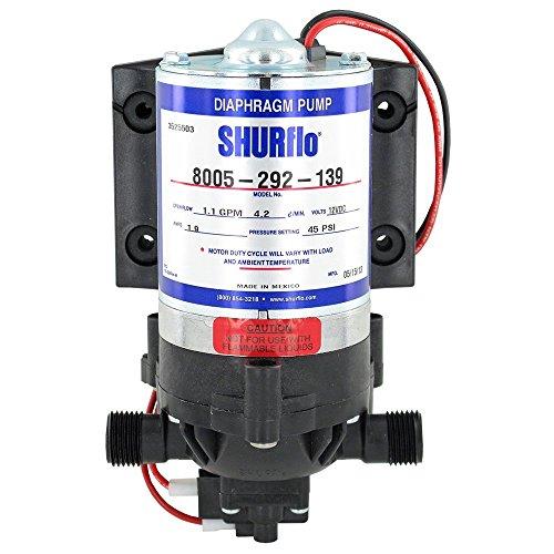 Pentair SHURflo 8005-292-139 On-Demand 12V Spraying and Fluid Transfer Diaphragm Pump, 1.1GPM c/w Viton Valves, Santoprene Diaphragm, Self-Priming Upto 8 Feet, 45PSI, 1/2