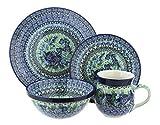Polish Pottery Sapphire Fields 4 Piece Dinner Set