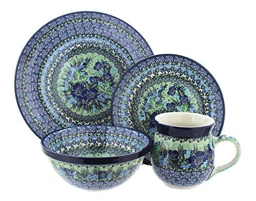 Polish Pottery Sapphire Fields 16 Piece Dinner Set
