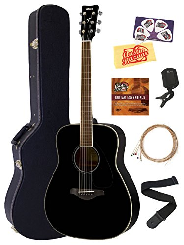 Yamaha FG820 Solid Top Folk Acoustic Guitar - Black Bundle with Hard Case, Tuner, Strings, Strap, Picks, Austin Bazaar Instructional DVD, and Polishing - Solid Guitar