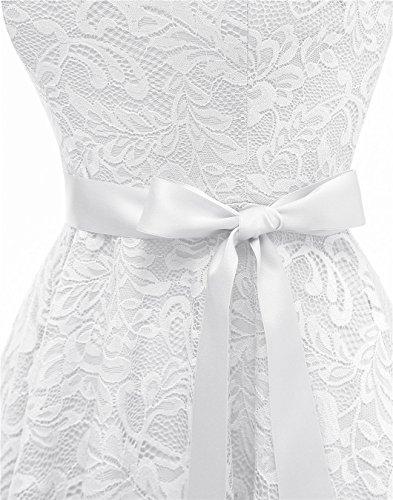 Robe Crmonie Ceinture de V Style Col Mariage avec en pour Blanc Dentelle Berylove soire Vintage d8SOA8n