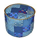 Lalhaveli Patchwork Design Handmade Silk Round Ottoman Cover 17 X 17 X 13 Inches
