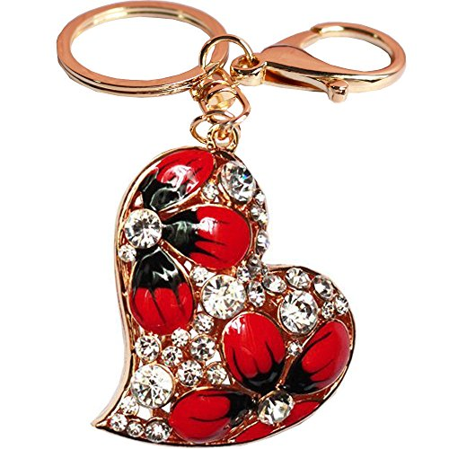Bolbove Heart with Flowers Blooming Keychain Crystal Keyring Rhinestone Purse Pendant Handbag Charm (Red)