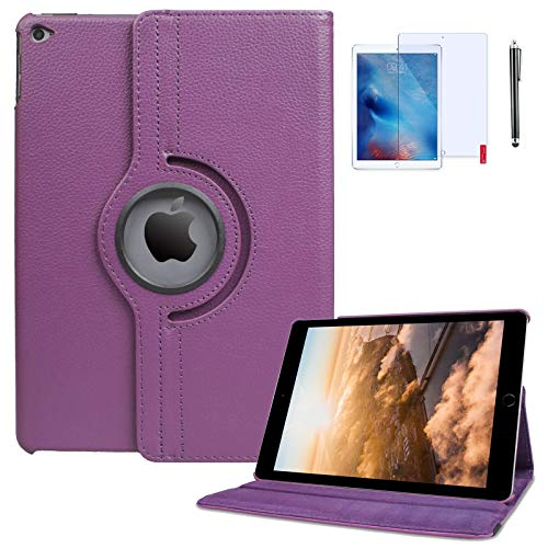iPad 6th Generation Cases 2018/2017 (6th,5th) 360 Degree Rotating Stand Protective Hard-Cover Folding Case with Auto Wake/Sleep Feature with Bonus Screen Protector and Stylus (Purple)