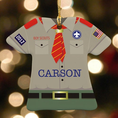 GiftsForYouNow Personalized Boy Scout Ornament, Ceramic
