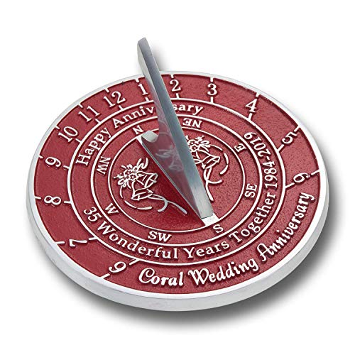 (ANTIQUECOLLECTION 35th Coral Wedding Anniversary Sundial Gift)