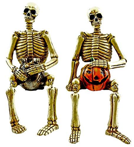 Halloween Skeleton Shelf Sitter Figurines - Set of 2 (Skeleton Sitter Shelf)