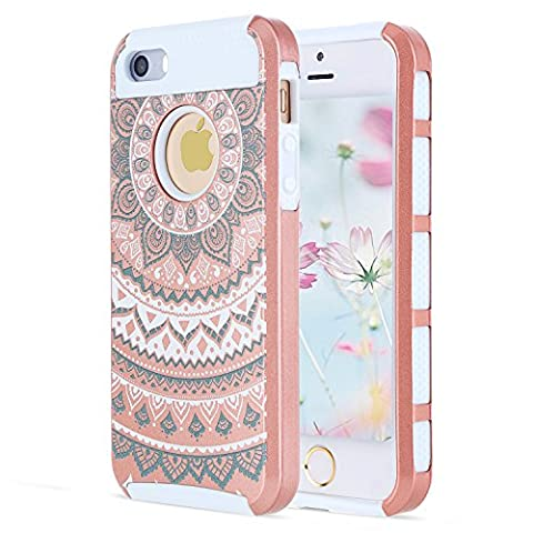 iPhone 5S Case, iPhone 5 Case, iPhone Se Case, Rugged Slim Armor Hybrid Defender Hard Back Cover and Soft Silicone Bumper Protective Case Cover Thin Fit for Apple iPhone 5S 5 SE-Rose Gold (Waterproof Ipod 4 Case Yellow)