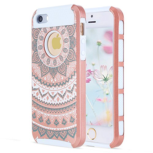 Nordstrom Girl (Rose Gold iPhone SE Case Slim Fit, Shockproof Case iPhone 5S Case Floral iPhone SE Cover, Cell Phone Case iPhone 5S Cases for Women, Heavy Duty iPhone 5 Case Silicone Plastic iPhone 5S Protective Case)