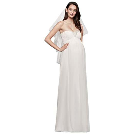 David S Bridal Beaded Chiffon Maternity Wedding Dress Style Wg3882