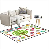 Rug,Birds and Owls in Spring Forest Colorful Lively Garden Blooms...