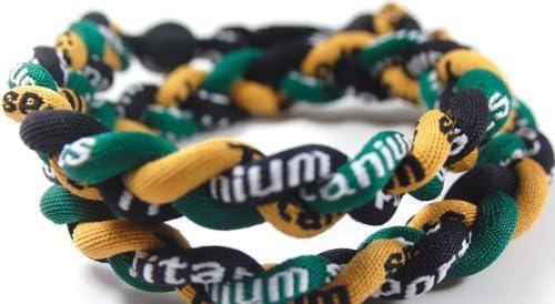 """新しい。18 """" MediumサイズグリーンゴールドブラックTornado Necklace Withケース"""