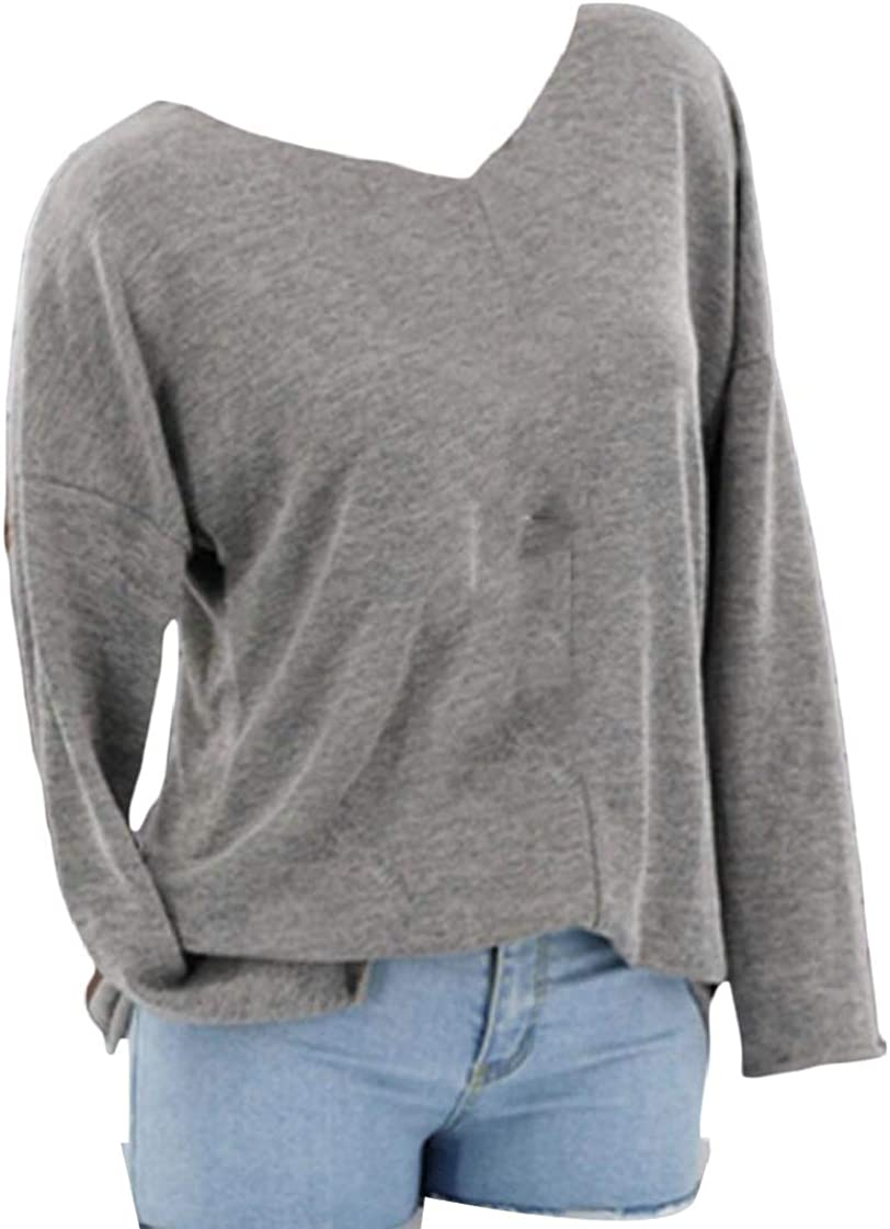 M/&S/&W Womens Casual Solid Basic V-Neck Loose Fit Long Sleeve T Shirt Blouses Tops