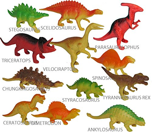 """Pack of 12 DINOSAUR TOYS 5"""" to- 7"""" Inch Large Action Figure Set (Also Suitable For Cake Toppers) NO DUPLICATES Includes Tyrannosaurus Rex"""