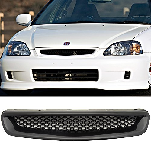 IKON MOTORSPORTS Grille for 1996-1998 Civic | ABS Black Front Bumper Hood Grill Hood Guard 1997 ()