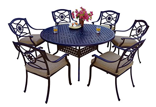 (Darlee 7 Piece Ten Star Cast Aluminum Dining Set with Sesame seat Cushions and 60'' Round Dining Table, Antique Bronze Finish)