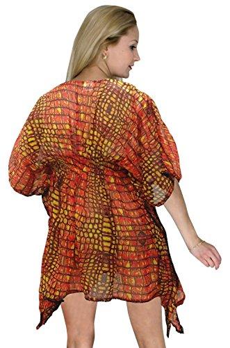 La Leela pura gasa animal arena cubierta superior elástica a las mujeres abrigo Naranja