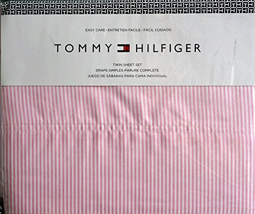 Tommy Hilfiger Full Sheet Set Ithaca Pink White Stripe 4 Piece Pinstripe ()