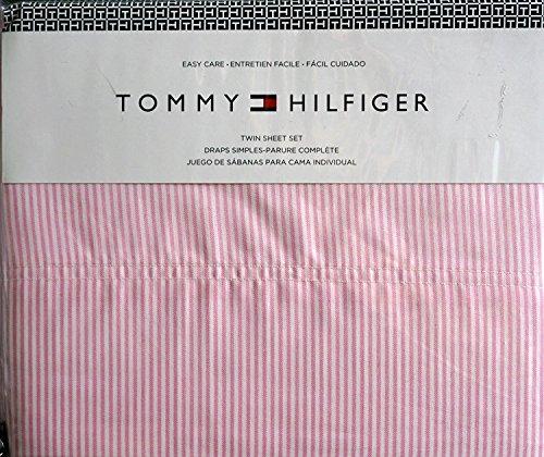 Tommy Hilfiger Full Sheet Set Ithaca Pink White Stripe 4 Piece (Tommy Hilfiger Flat Sheet)