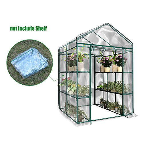 Walk-In Greenhouse Cover, Plastic Replacement Garden Cover, 2-Tier 8-Shelf Portable Green House Plant Cover Lawn Transparent_PVC