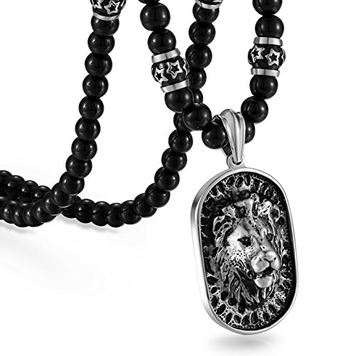 Cupimatch Mens Pendant Necklace,Stainless Steel Gothic Punk Rock Lion Head Dog Tag Pendant 66cm