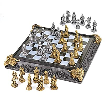 Dragon Quality Modern Chess Set 15 Inch, Decorative Glass Set for Adult (Sold by Case, Pack of 2)