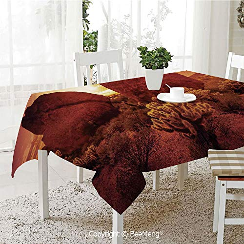 Large dustproof Waterproof Tablecloth,Family Table Decoration,Saguaro Cactus Decor,Dramatic Desert Scenery Like Burnt by Sun Near Scottsdale Hot Rocks Serene Western Image,Red,70 x 104 inches -