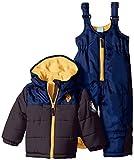 U.S. Polo Assn. Baby Boys' Heavyweight Color Block Puffer Snowsuit, Charcoal, 12 Months