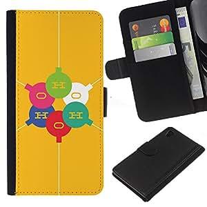 Sony Xperia Z4 / Sony Xperia Z4V / E6508 Modelo colorido cuero carpeta tirón caso cubierta piel Holster Funda protección - Elements O H Molecule Yellow