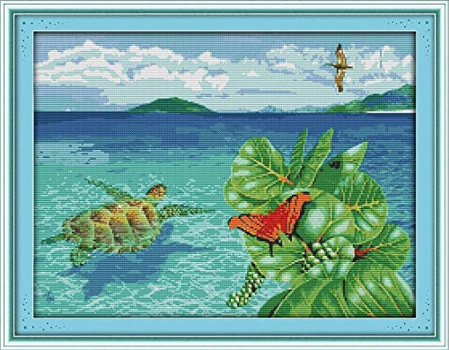 CaptainCrafts New Cross Stitch Kits Patterns Embroidery Kit - The Sea Turtle (WHITE)