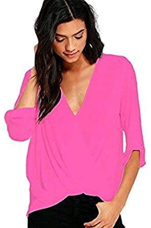 a0bb2e32ba8 New Pink Draped Front Top Blouse Casual Party Club Wear Summer Day Wear  Size UK 10-12  Amazon.co.uk  Clothing