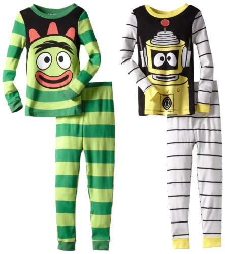 Yo Gabba Gabba Little Boys' Brobee & Plex Long Sleeve Pajama Set, Multi, 4