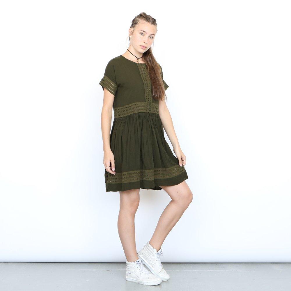Eyelet Trim Party Dress , Olive Midi dress
