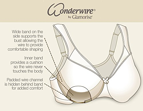 Glamorise Women's Front Close Stretch Lace Wonderwire Bra, White, 36DD