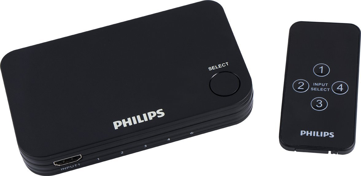 Philips Elite 4-Port HDMI Splitter Switch & Wireless Remote Control, Full 4K @ 60 FPS, Compatible Devices Include PS4 Pro, Xbox