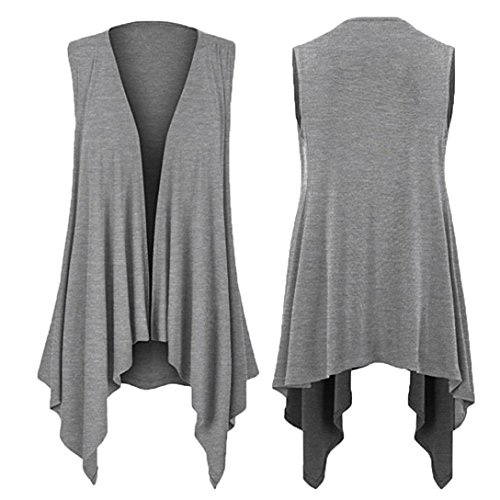 weight Sleeveless Draped Open Cardigan Casuasl Solid Sleeveless Draped Irregular Hem Top Blouse(Small,Gray) ()