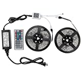 2 Reels 16.4ft/5m LED Strip Waterproof Color Changing RGB SMD3528 300 leds Flexible LED Light Rope with 44Key Remote+12V Power Supply for Home/Garden Lighting and Decoration