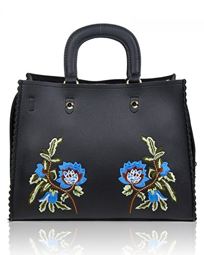 Women College Bag Black Tote For Leahward Flower Women's Holiday Leather Shoulder Large School Bags Faux WxzagqCw