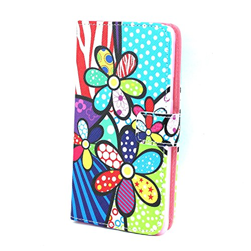 Galaxy Note 4 Case,Flower Printed Pattern Leather Wallet Flip Protective Skin Case Cover with Credit Card Holder For Samsung Galaxy Note 4+ Free Cleaning Cloth As a Gift