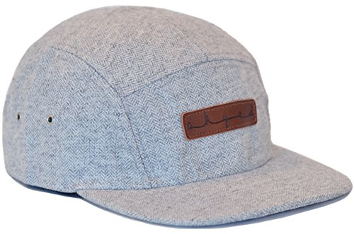 Skyed Apparel Premium 5 Panel Highland Gray Wool Camper Hat With Genuine Leather Strap (Wool Panel)