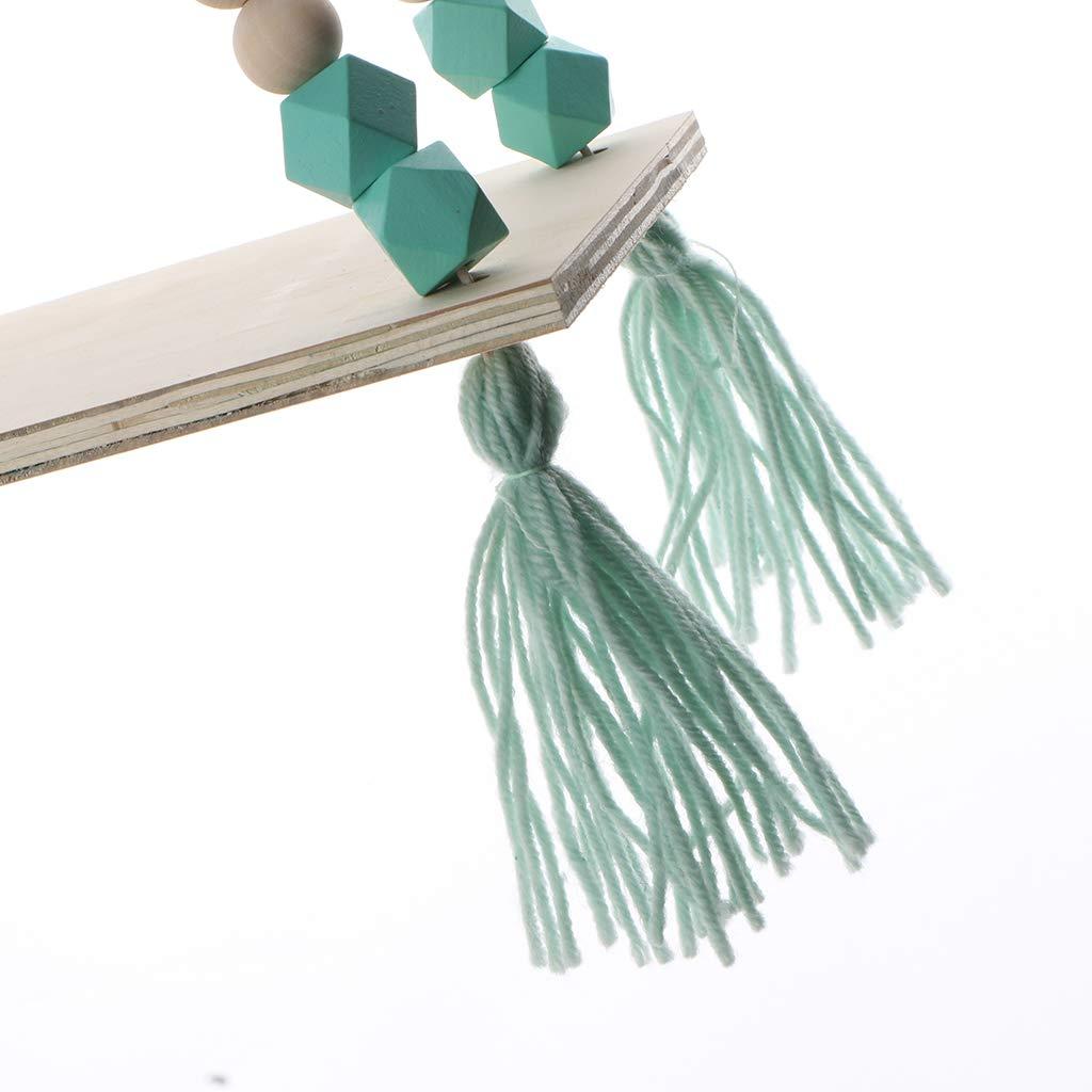 Verde Sharplace Estante de Pared Madera Estanter/ía Almacenaje N/órdico con Cuerdas Flotantes Decoraci/ón Hogar