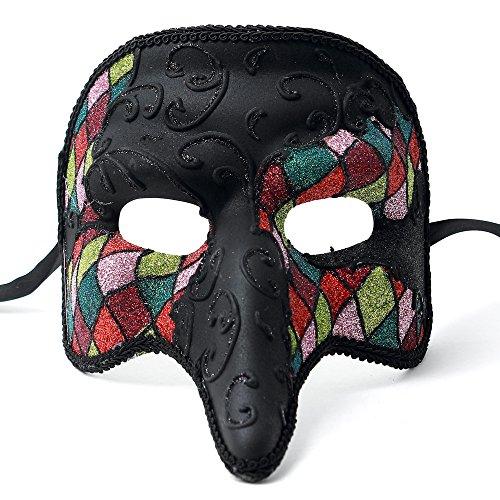 ILOVEMASKS Glitter Swan Masquerade Venetian Men Nose Mask - Black Rainbow ()