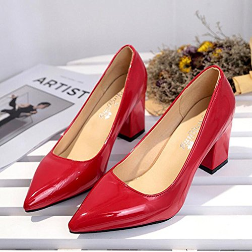 Work Size Seasons Women's Shoes Shoes 43 Red Burgundy Wild Spring Red White Black High Heels Summer Pink 33 PU GAOLIXIA panw0qWa
